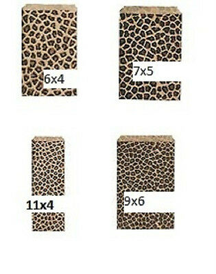 Animal Print Gift Bags (Leopard Animal Print paper Gift Bags 6x4, 7x5, 9x6, or 11x4  100pc *FREE ship )