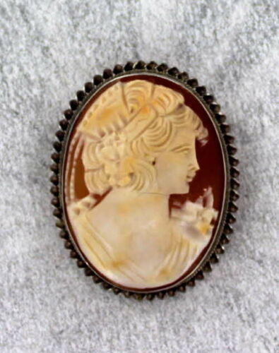 40MM Vintage Antique  Carved  Shell Cameo Brooch n Sterling Silver