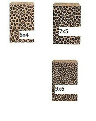 Animal Print Gift Bags (50 Leopard Animal Print paper Gift merchandise Bags 6x4, 7x5,or 9x6  )