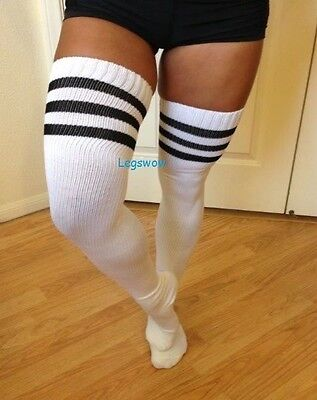 Thigh High Over The Knee Socks White Blue Green Black Red Yellow Pink