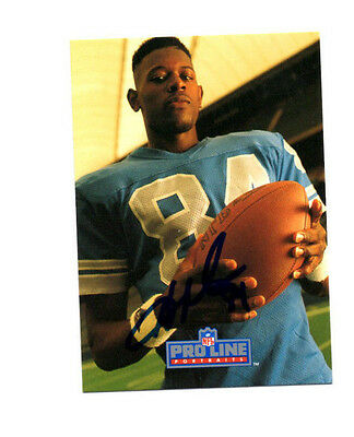 Herman Moore Detroit Lions hand signed autographed 1991 Pro Line football card
