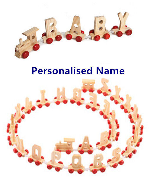 Personalised Letter Name wooden Train Birthday New Year Christmas Gift Toy