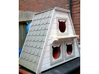 Solid Wood Cat House Den for Outdoors or Indoors