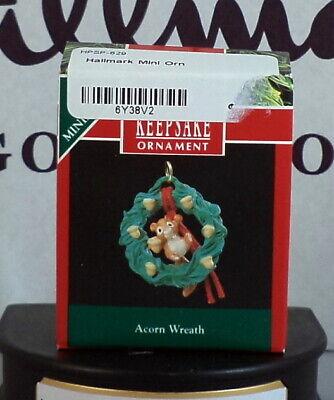 1990 Hallmark Miniature Acorn Wreath Ornaments NEW