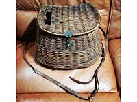 Vintage fly fishing wicker pot belly creel