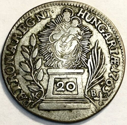 HUNGARY - Maria Theresia - Madonna & Child - Silver 20 Krajczar - 1763KB - VF
