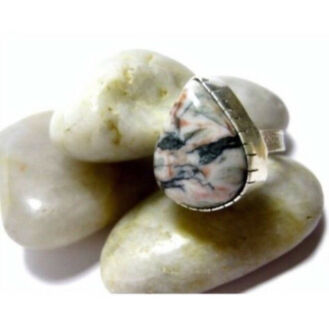 NEW Unisex Sterling Silver & Ocean Jasper Gemstone Ring RRP $80