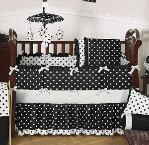 Modern black and white polka dot baby girl crib bedding room set made in america ebay - Modern baby girl crib bedding ...