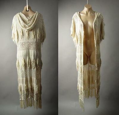 Crocheted Duster - Hooded Victorian Boho Mori Girl Crochet Long Duster Sweater 216 mv Jacket S M L