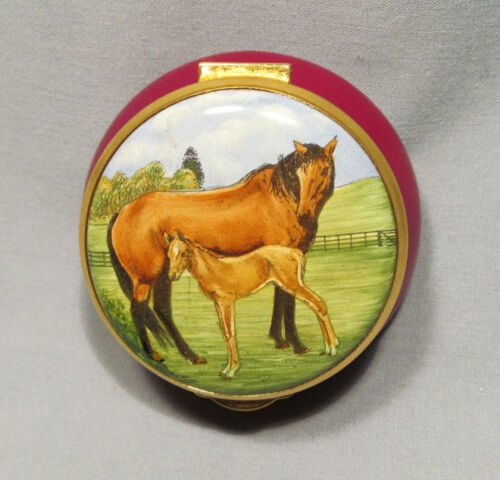 Staffordshire Enamel England Hand Painted Mare Horse with Colt Trinket Box