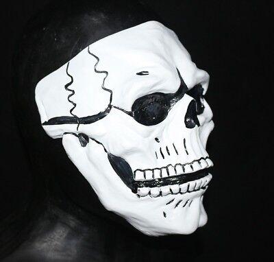 Deluxe Weiß Totenkopf Maske Beweglicher Mund Tag der Toten Bond Spectre Kostüm