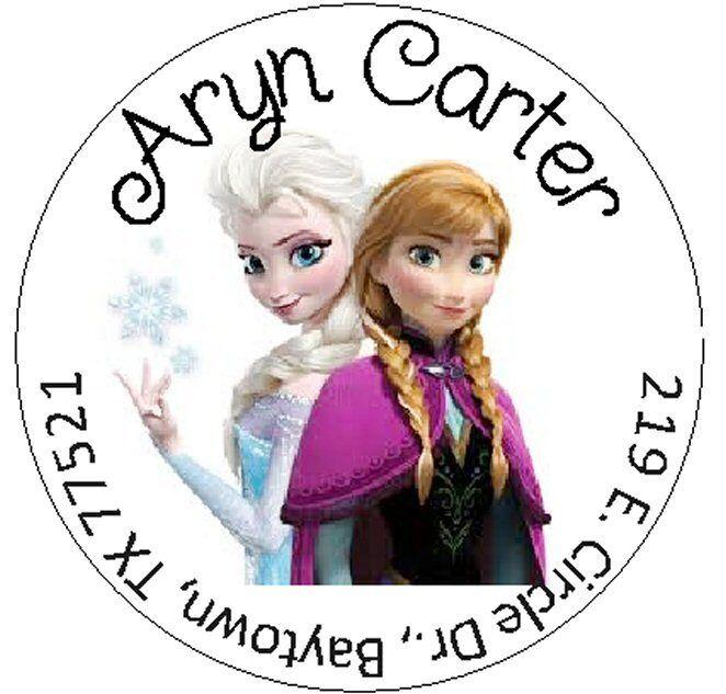 FROZEN - Anna & Elsa - Round Return Address Labels