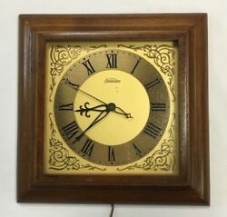 Vintage Wall Clock Sunbeam Electric Wood Frame