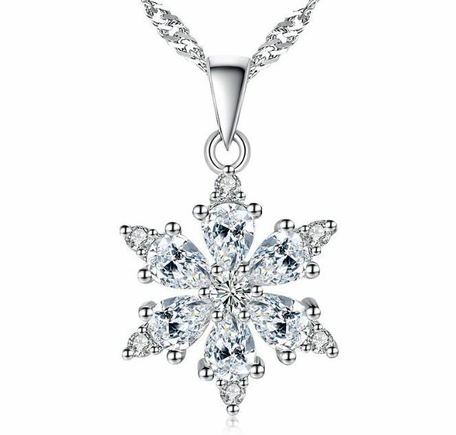 Jewellery - Snowflake Pendant 925 Sterling Silver Chain Necklace Womens Girls Jewellery Gift