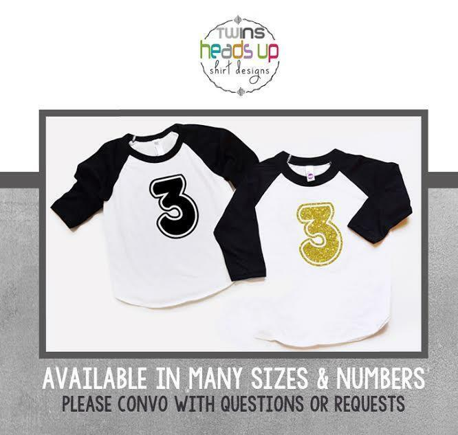 Boy/Girl Twins 3rd Birthday Shirts Twin Third Bday Raglan Tees Toddler Kids Tees