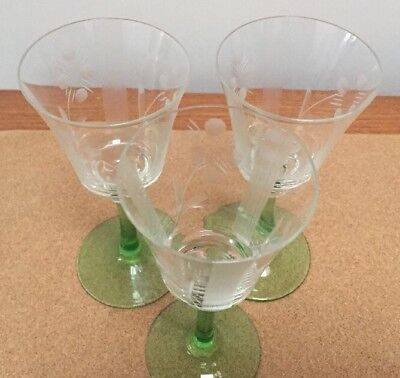 VINTAGE Cut Glass Green Stem Wine Glasses x 3