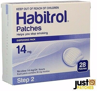 STEP 2 HABITROL TRANSDERMAL NICOTINE PATCH 14mg 1 box 28 patches FRESH