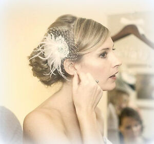 Ivory Bridal fascinator wedding hair clip feather fascinators womens prom bride