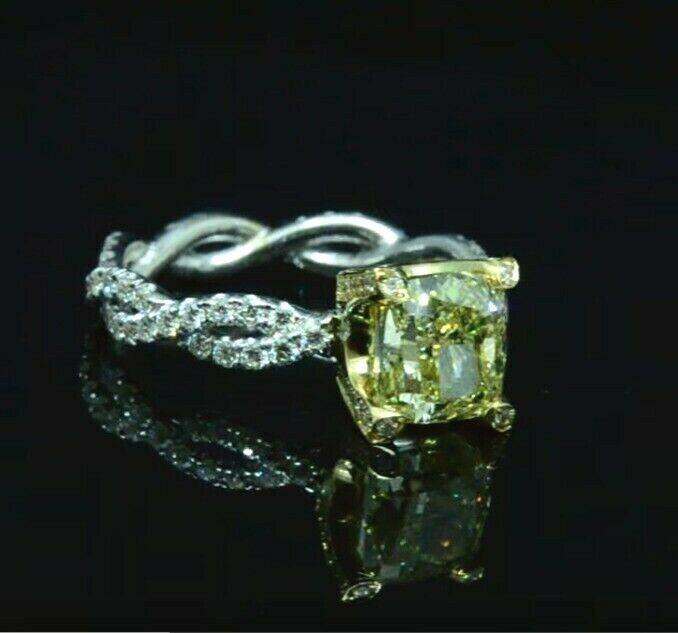 2.20 Ct. Cushion Cut Fancy Light Yellow Diamond Halo Engagement Ring IF GIA 18K 1