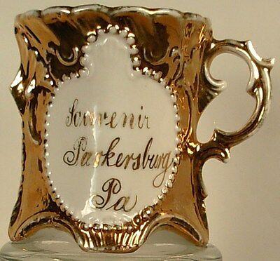 SOUVENIR PARKERSBURG PA CHINA CUP GOLD WHITE CIRCA 1910