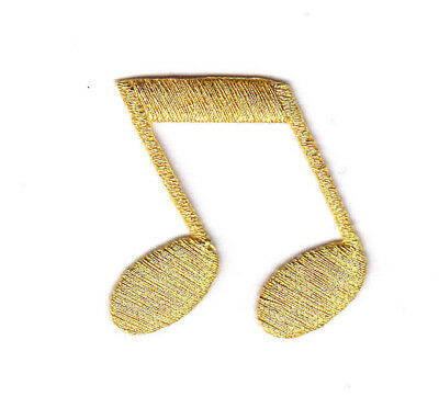 GOLD DOUBLE MUSIC NOTE - MUSICAL - ROCK N'ROLL - Iron On Embroidered Patch