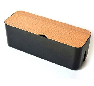 Caja organizadora de cables con tapa de madera para regleta de enchufes