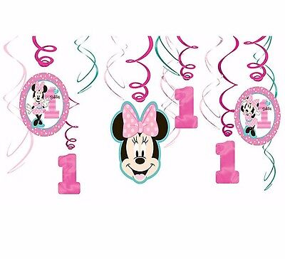 Baby Minnie Mouse Hanging Swirl Decorations First Birthday Party Supplies ~ 1st ](Minnie Mouse 1st Birthday Decorations)