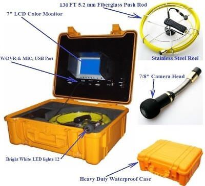 Sewer Drain Pipe 7 Lcd Display 130ft Cable 78 Color Inspection Camera Dvr Usb