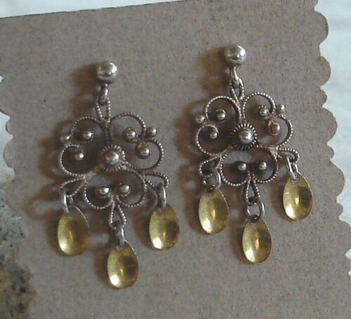 Vintage 830 Silver Gold Solje Norway Filigree Dangle Post Back Earrings