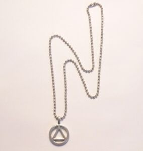 AA Alcoholics Anonymous Necklace Pendant Pewter Recovery Jewelry Made in USA