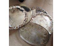Silver plated serving trays