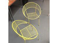 Pair of Yellow / Green Atomic Metal Garden Chairs