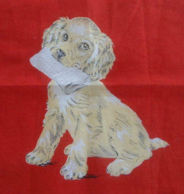 Vintage Childs Hanky Cocker Spaniel Puppy Newspaper Dog Red Juvenile