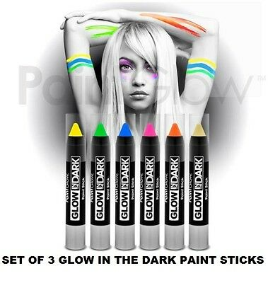 Set Of 3 GLOW IN THE DARK PAINT STICK Body & Face Paint Stick Make Up Party - Face Painting Glow In The Dark
