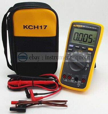 Fluke 17b Digital Multimeter Tester Dmm With Tl75 Test Leads Soft Case Kch17