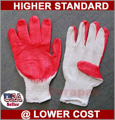 48 Pairs Cotton /Poly Work Gloves  Large w/ Red Latex Coated Palm Finger White