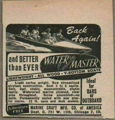 1947 Print Ad Water Master All Wood Boats Marine Craft Co. Chicago,IL