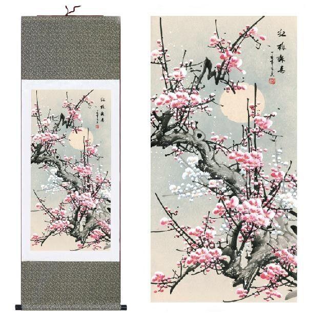 喜鹊雪梅 Chinese Silk Scroll Painting Plum Blossom Home Office Decoration