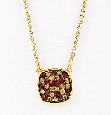 Ralph Lauren Gold Tone Smoky Topaz Crystal Pave Cushion Pendant Necklace NEW