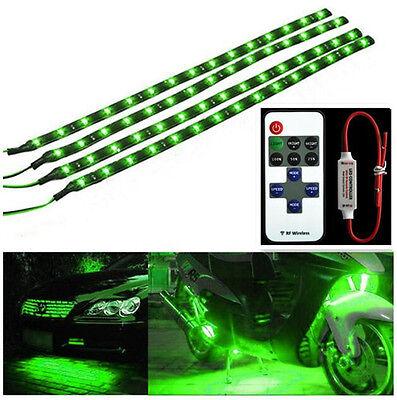 Wireless Remote Control 30CM Motorcycle Green LED Light Strip Kit For Kawasaki