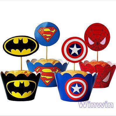 12PCS Super Hero Superman Batman Cupcake Wrapper and Topper Boy Party Decoration - Boy Super Hero