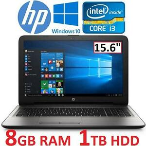 REFURB HP SILVER FUSION NOTEBOOK PC Windows 10, Intel Core i3-6100U Processor, 8GB Memory, 1TB Hard Drive 15.6""