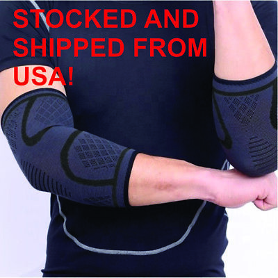 2x Compression Elbow Sleeve Brace/Gym/Arthritis/Joint Support/Tennis/Copper