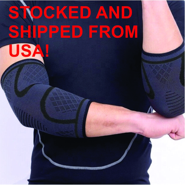 2x Compression Elbow Sleeve Brace/Gym/Arthritis/Joint Suppor