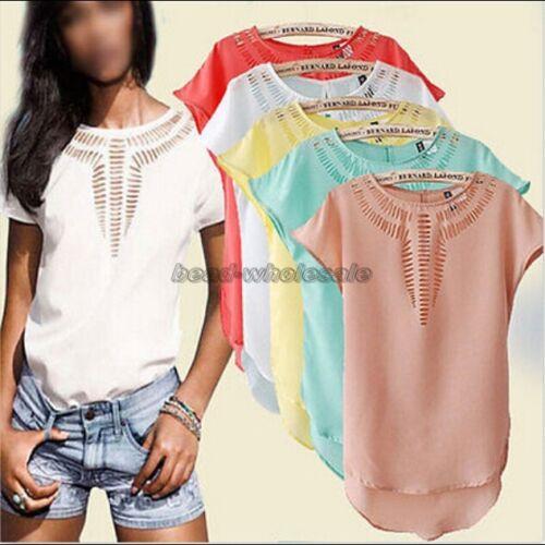 As-mulheres-novas-Casual-Chiffon-Blusa-Camisa-de-manga-curta-camiseta-Blusa-Tops-De-Verao