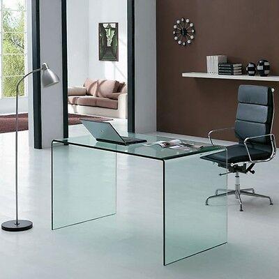 Scrittoio scrivania in vetro curvo Glassy - ufficio, 126 cm, curvato
