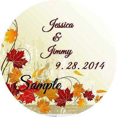 120 Personalized Custom Fall Autumn Leaves Wedding Round Stickers Envelope Seals - Custom Envelope Seals