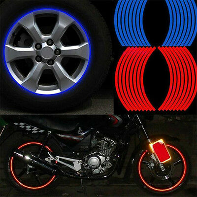 Red Blue Reflective Motorcycle Car RIM Stripe Wheel Decal Tape Sticker 17 Strips