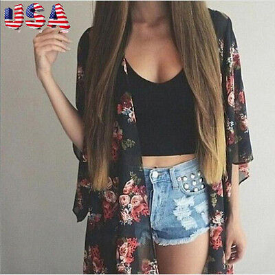 Women Summer Floral Print Chiffon Shawl Kimono Cardigan Blouse Tops Cover up