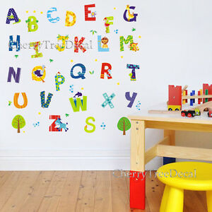 Alphabet ABC Nursery Wall Art Decal Stickers Boy Girl Baby Child Kids Decor  52pc Part 59